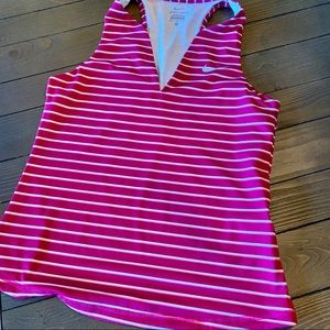 Nike pink striped V-neck dry fit top